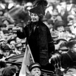 Emmeline Pankhurst addresses the suffragettes