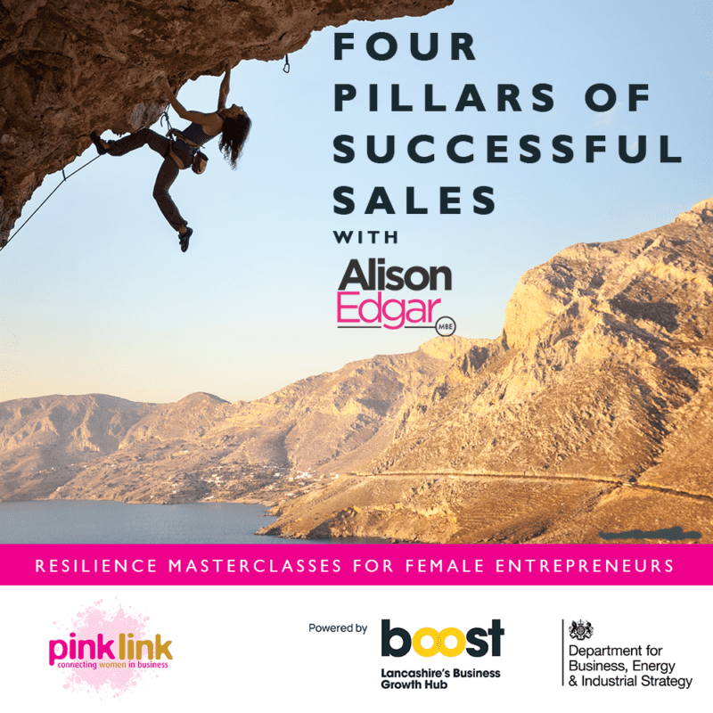 Pink Link and Boost Lancashire Resilience Masterclasses for women in business FOUR PILLARS OF SUCCESS with Alison Edgar MBE