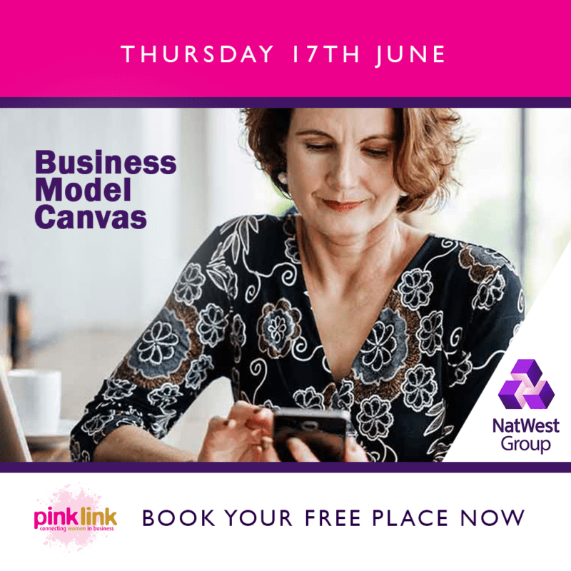 NatWest Business Model Canvas with Pink Link business event for women in business