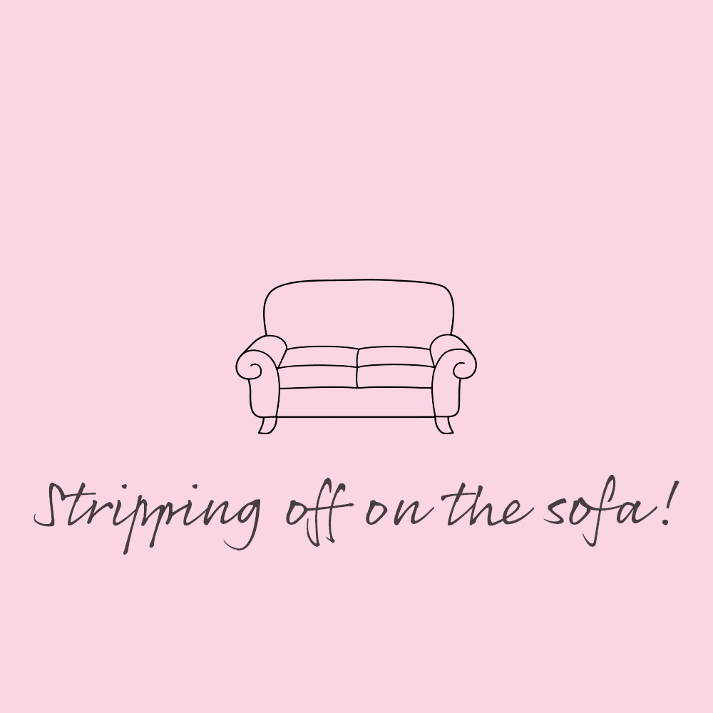 Stripping Off On The Sofa by Coral Horn of Pink Link Ladies