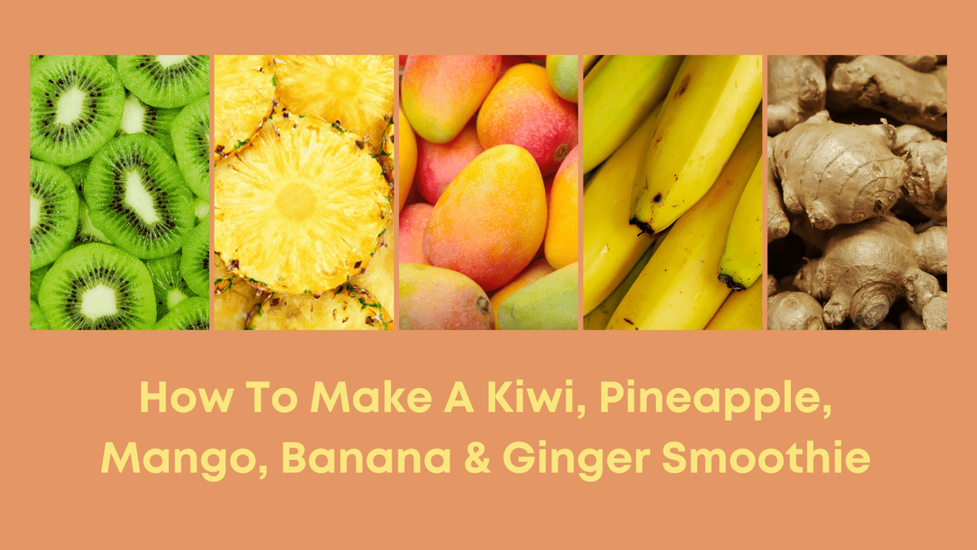 A Kiwi, Pineapple, Mango, Banana & Ginger Smoothie is a great way to bring exotic flavours into your healthy lifestyle, boosting amazing nutritional benefits.